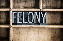 Felony Concept Metal Letterpress Word in Drawer Royalty Free Stock Photos