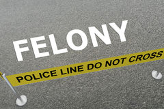 Felony - criminal concept. 3D illustration of FELONY title on the ground in a police arena Stock Photos
