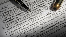 Felony exclusion on the NICS background check to buy a gun Royalty Free Stock Image