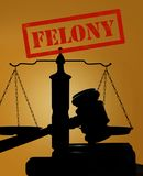 Felony text and gavel with scales stock image