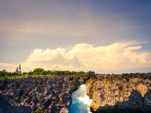 Felsen überlagert in Nusa-DUA-Strand, Bali Stockfotografie