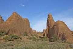 Felsen-Anordnungen der Bogen-N.P. Utah Stockfoto