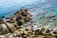 Felsen auf der Küste von Lloret de Mar Stockbild