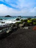 Felsen auf einem Ozeanstrand Stockfoto