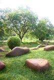 Felsen benutzt für die Landschaftsgestaltung in einem Garten Lizenzfreies Stockbild