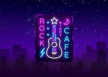 Felsen-Café Logo Neon Vector Schaukeln Sie Café-Leuchtreklame, Konzept mit Gitarre, helle Nachtwerbung, helle Fahne, Live Music vektor abbildung