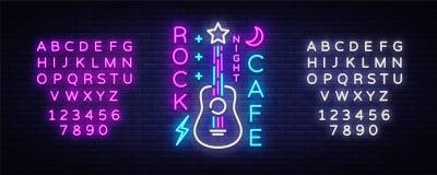 Felsen-Café Logo Neon Vector Schaukeln Sie Café-Leuchtreklame, Konzept mit Gitarre, Nachtwerbung, helle Fahne, Live Music lizenzfreie abbildung