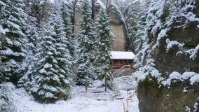 Felsen in der berühmten felsigen Stadt von Adrspach-Teplice schaukelt Winter Lizenzfreie Stockbilder