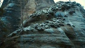 Felsen in der berühmten felsigen Stadt von Adrspach-Teplice schaukelt Winter Stockfotos