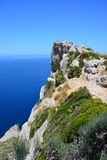 Felsen der Kappe Formentor Stockfoto