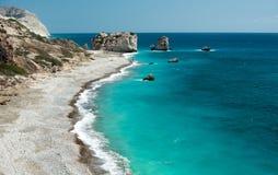 Felsen des Griechen, der Felsen der Aphrodite, Zypern Stockbilder