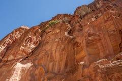 Felsen des rosa Sandsteins in PETRA, Jordanien Stockfoto
