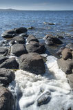 Felsen, die ein natürliches Mosaik bilden Stockfotos