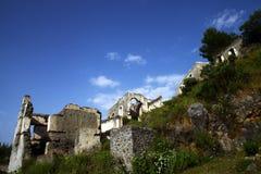Felsen-Dorf Karmylassos Kayakoy Stockfotos