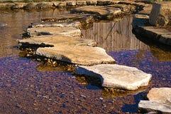 Felsen-Gehweg über Teich Lizenzfreies Stockfoto
