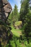 Felsen im Holz des Krasnoyarsk Pfostens, Sibirien lizenzfreies stockbild