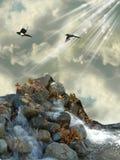 Felsen im Meer lizenzfreie stockbilder