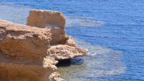 Felsen im Roten Meer auf dem Strand von Ägypten Feiner Hintergrund f?r die Erholungsortferien stock footage