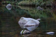 Felsen im See oder im Fluss Stockbilder