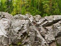 Felsen im Wald Stockfotografie