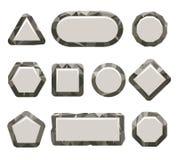 Felsen-Knopfsatz des Indie Spiels grauer stock abbildung