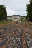 Felsen in La Roche Courbon Schloss stockfoto