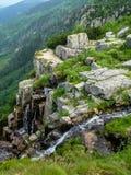 Felsen mit grüner Vegetation auf Pancavske vodopady in Krkonose stockbilder