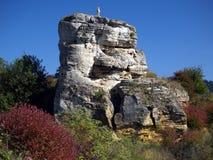 Felsen mit Kreuz Stockbild