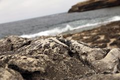 Felsen mit Meer und Berglandschaft stockbilder