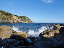 Felsen am Strand, Palamos, Costa Brava, Spanien Stockbild