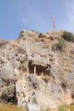 Felsen und altes Licia-Grab Fethiye, die Türkei Stockfotos