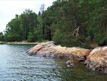 Felsen und Bäume auf Grinda, Stockholm-Archipel, Schweden stockbild