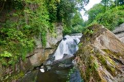 Felsen und der Wasserfall stockfotos