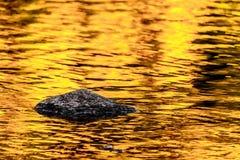 Felsen- und Goldherbstseereflexionen stockfoto