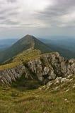 Felsen und Klippen unter Dunkelheitswolken-Trekkingsweg an Berg Suvas Planina Lizenzfreie Stockbilder
