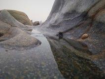 Felsen und Salzwasser auf der Küste lizenzfreies stockfoto