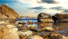 Felsen und Steine des Schwarzen Meers Lizenzfreie Stockfotos