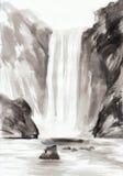 Felsen und Wasserfall