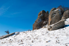 Felsen von Dimerdzhi im Winter Stockfoto