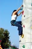 Felsen-Wand-Mädchen Stockbild