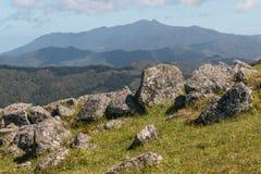 Felsenflusssteine auf Steigung in Coromandel-Strecke Lizenzfreies Stockfoto