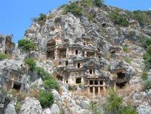 Felsengräber in Mirra Stockbilder