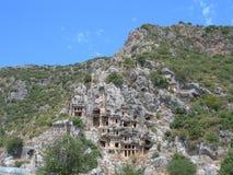 Felsengräber in Mirra Stockfotos