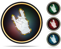 Felsenhandzeichen. Vektorikonen. Stockbild