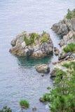 Felseninsel des Kaps nahe Okpo Stockbild