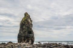 Felsenstapel auf Strand durch Meer stockbild