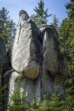 Felsformation, die unter Koniferenbäumen steigt Stockfotografie