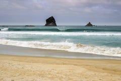 Felsformationen an der Sandfly-Bucht, Otago-Halbinsel, Neuseeland Stockfoto
