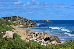 Felsformationen entlang den Kosten von Pinguin-Insel Lizenzfreie Stockfotografie
