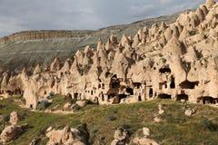 Felsformationen in Zelve-Tal, Cappadocia Lizenzfreie Stockfotos